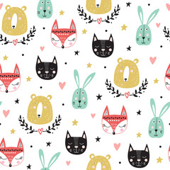 Fototapeta Seamless pattern with cute animals: fox, bear, bunny, cat. Vector illustration.