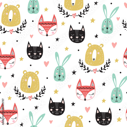 wzor-z-uroczych-zwierzatek-lis-niedzwiedz-krolik-kot-ilustracji-wektorowych