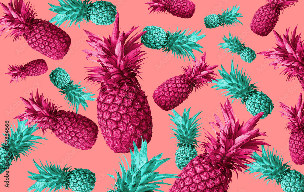 Fototapeta Fruit background with pineapple, watermelon