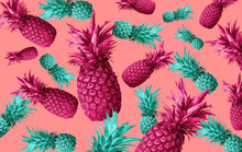 Fruit Background With Pineappl...