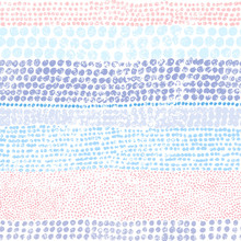 Multicolored Dots On A White Background. Seamless Striped Pattern. Vintage Color Print. Blue, Gray, Pink And White Colors. Grunge Texture.