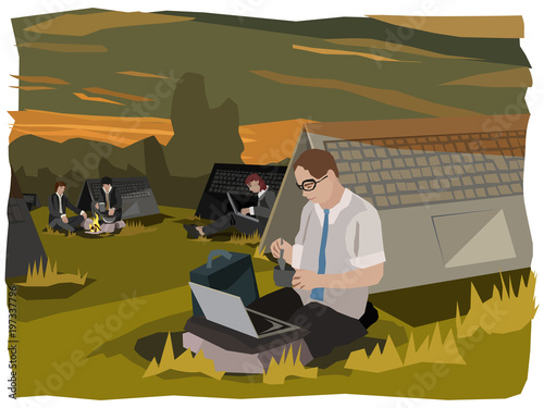 Fotografia computing digital nomads camping outdoors in business suits doing their 24/7 bus