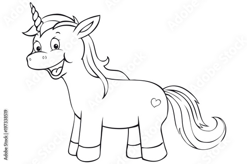 Recess Fitting Cartoon draw cute unicorn coloring page