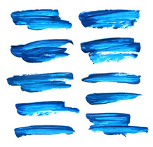 Set Of Blue Gouache Brush Stro...