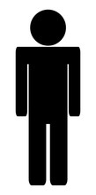 Vector Man Simple Toilet Icon Isolated On White Background