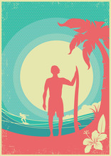 Surfer And Sea Waves Tropical Island.Vector Poster Background
