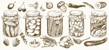 Jars With Pickled Vegetables A...