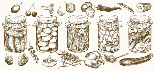 FototapetaJars with pickled vegetables and fruits.