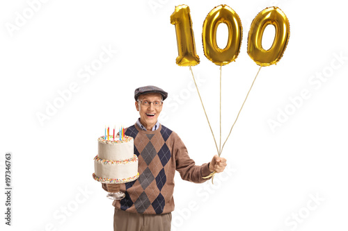 Poster Happy senior with a birthday cake and a number hundred balloon