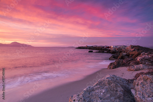 Fotobehang Candy roze seaside and coast view during the sunset