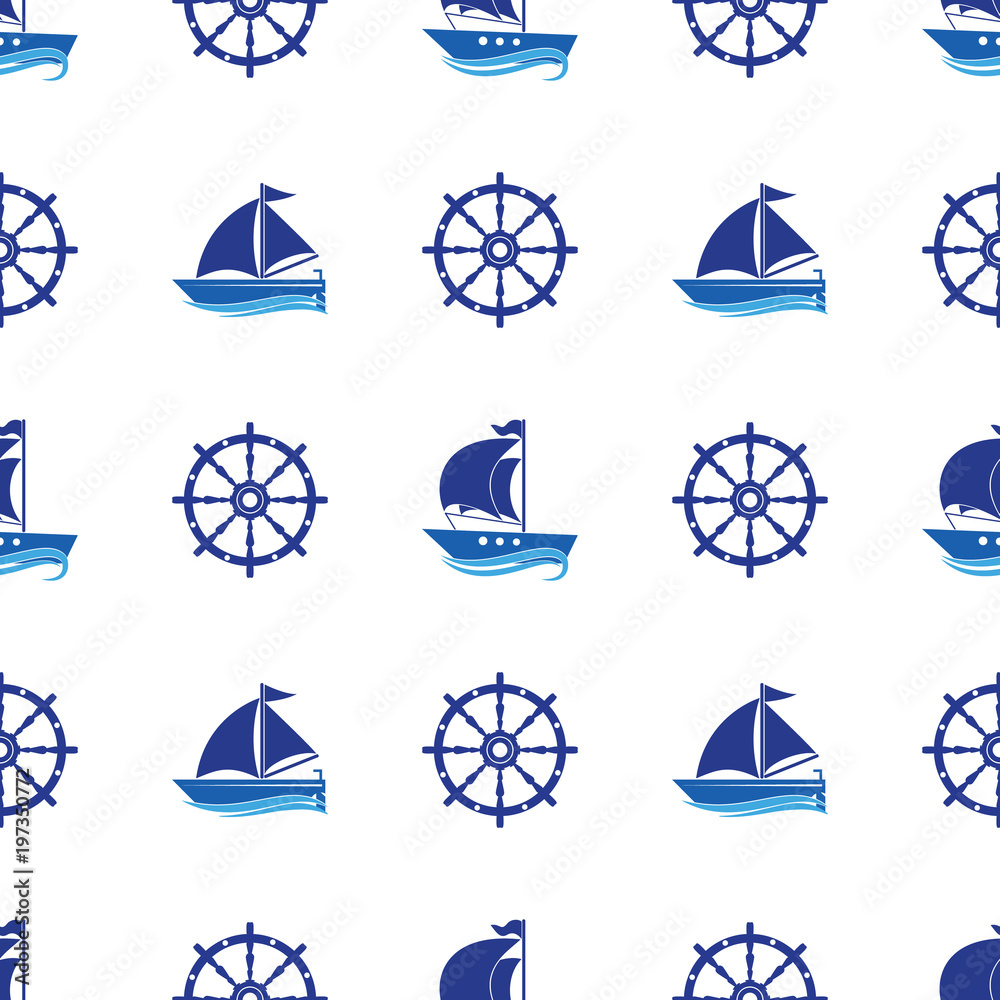 Seamless pattern with the image of yachts, anchor, steering wheel. Can be used for paper, background, texture, wallpaper. Vector i