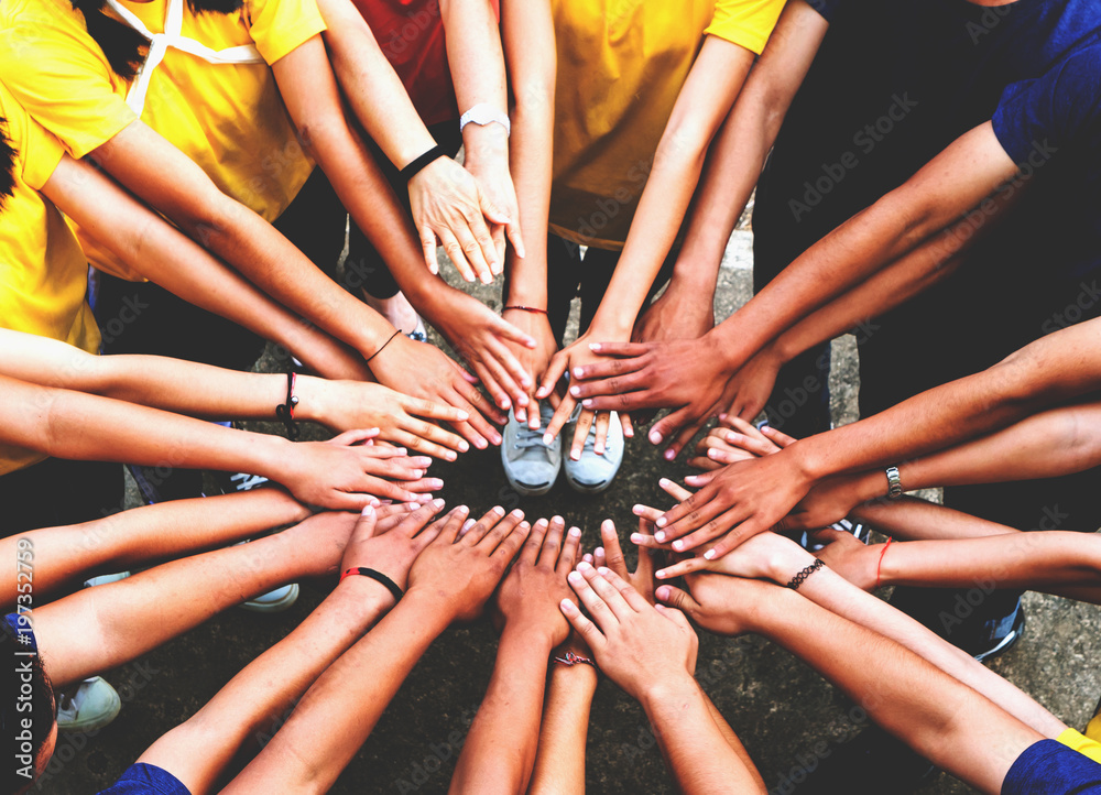 Fototapety, obrazy: Human hands unity with their hands together, concept successful business people