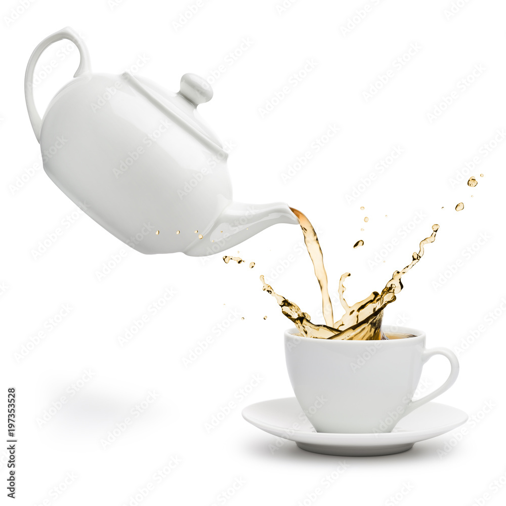 Fototapety, obrazy: teapot pouring tea into cup on white background