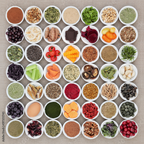 Health food to improve brain cognitive functions with super food including supplement powders, herbs and spices also used in herbal medicine. High in omega 3 anthocyanins, antioxidants and vitamins.