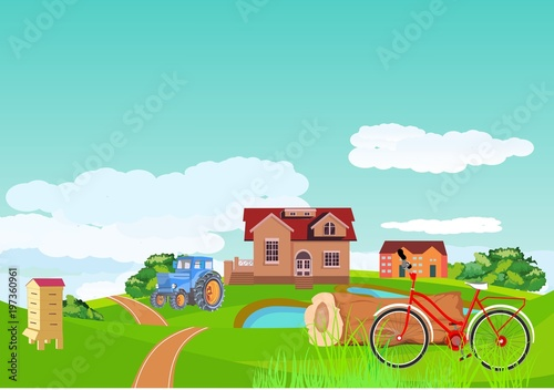 Countryside landscape concept. Village in green hills, road ribbon and bicycle in the green grass, vector illustration.
