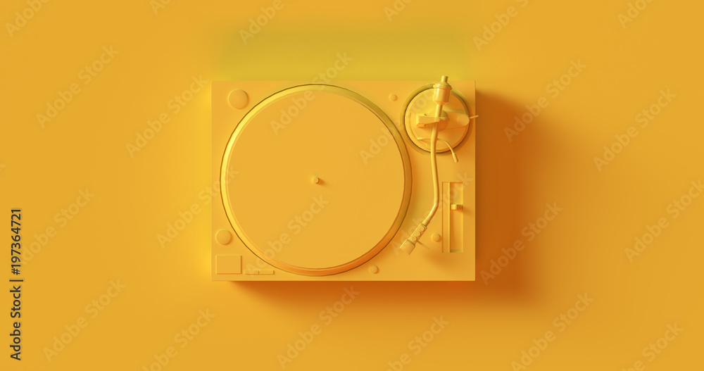 Fototapety, obrazy: Yellow  Record Player Turntable 3d illustration
