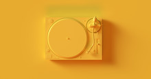 Yellow  Record Player Turntable 3d Illustration
