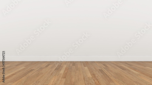 Fotografie, Obraz Empty Room White wall and wood  brown floor, 3d render Illustration Background T
