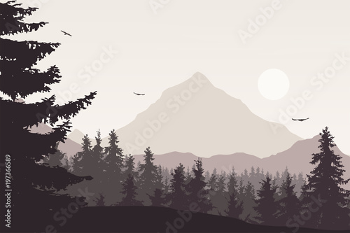 Spoed Foto op Canvas Grijze traf. Mountain landscape with a forest under the sky with clouds and flying birds in retro colors