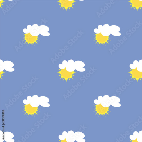 Fototapeta Summer seamless pattern with sun and cloud in the sky. Vector. obraz na płótnie