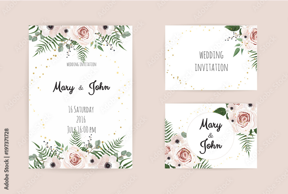 Fototapety, obrazy: Vector invitation with handmade floral elements. Wedding invitation cards with floral elements