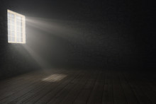 3d Rendering Of Medieval Empty Room With Light Rays At Window