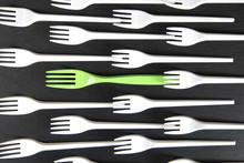 Plastic Fork White And A Green In Between