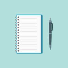 Open Notepad With Pen Isolated On Background. Flat Style Icon. Vector Illustration.