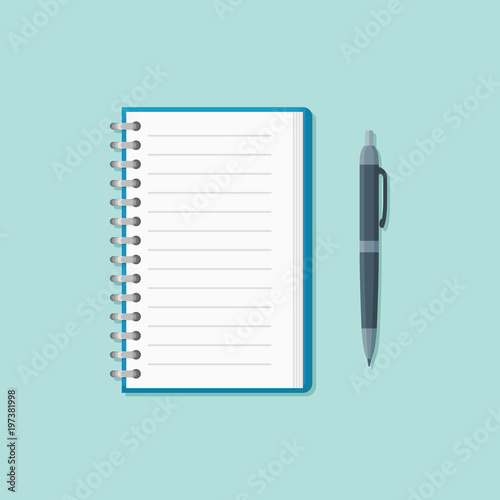 Open notepad with pen isolated on background Canvas Print