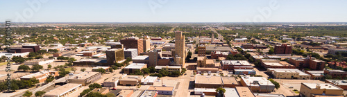 Foto op Aluminium Texas Sunday Morning Over Empty Street lubbock Texas Downtown Skyline Aerial