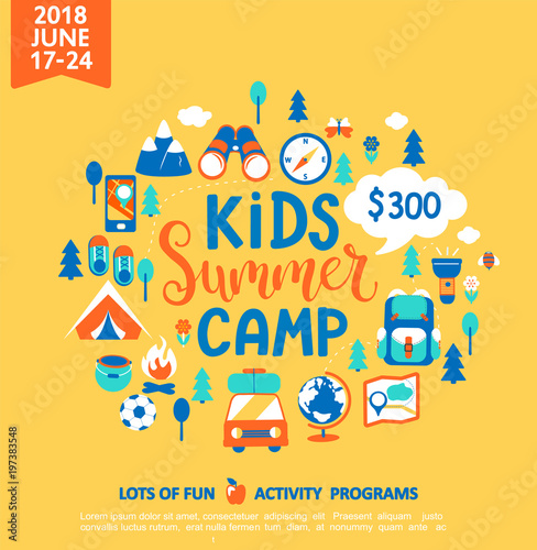 Fotografia Kids Summer camp concept with handdrawn lettering, Camping and Travelling on holiday with a lot of camping equipment such as tent, backpack and others