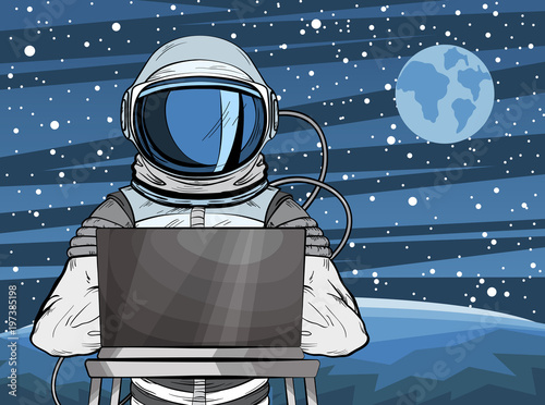 Cuadros en Lienzo Hooded hacker Astronaut behind a laptop in pop art style