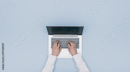 Fototapeta Hands typing on a laptop obraz