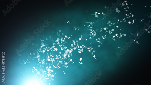 Floating musical notes on an abstract blue background with flares 3d illustration - 197389120
