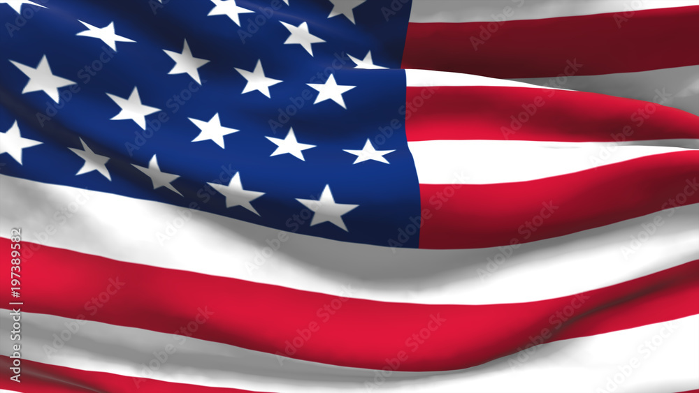 Fototapety, obrazy: Seamless 3d illustration of the American flag waving in the wind
