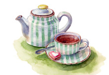 Watercolor Hand-drawn Tea Set On White Background