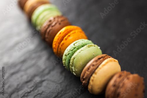 Poster Macarons Assortment of macaron cookies