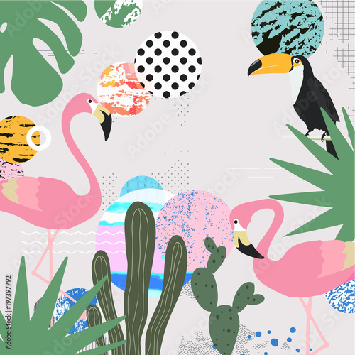 Tropical Jungle Leaves Background With Flamingos And Toucan Summer Vector Illustration Design Flamingo And Toucan Background Exotic Background Poster Tropical Leaves Art Print Buy This Stock Vector And Explore Similar Vectors Blue, red, and pink swiss cheese leaves print textile. tropical jungle leaves background with