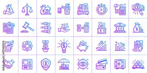 Fototapeta Outline gradient icon set of finance. Material design icon suitable for print, website and presentation obraz