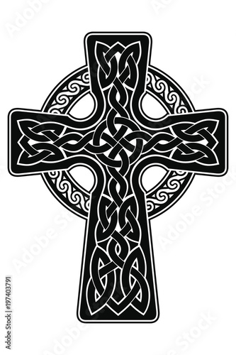 Celtic cross with national ornament as interlaced ribbon isolated on white background.