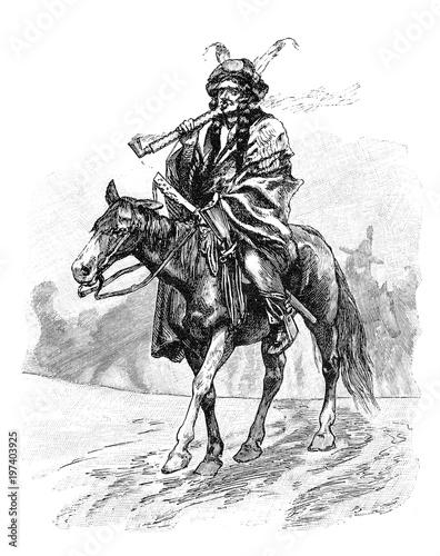 Recess Fitting Art Studio Indianer auf dem Pferd mit Kriegspfeife