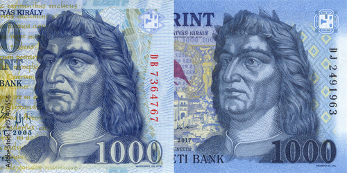 Fotografie, Obraz  detail of new and old hungarian forint