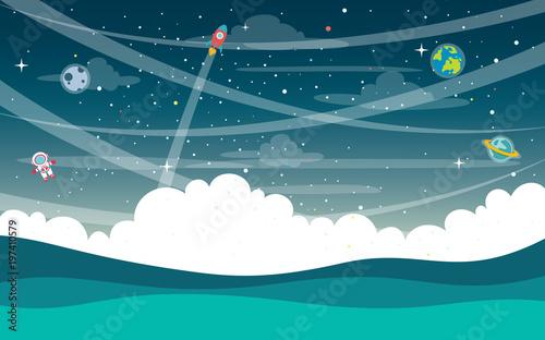 Obraz Vector Illustration Of Space - fototapety do salonu