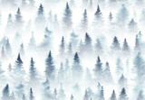 Seamless pattern of watercolor spruce forest in the fog. - 197411189