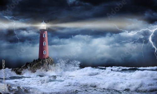 Fototapeta Lighthouse In Stormy Landscape - Leader And Vision Concept