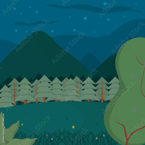 In de dag Groen blauw Forest landscape cartoon at night