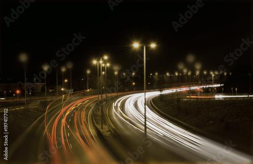 Keuken foto achterwand Nacht snelweg cars light trails