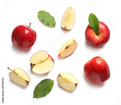 Ripe red apples on white background, flat lay