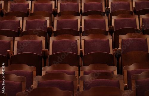 Papiers peints Opera, Theatre numbered theater chairs with red velvet