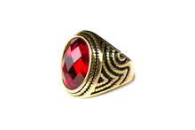 Gold Ring With Ruby Isolated O...